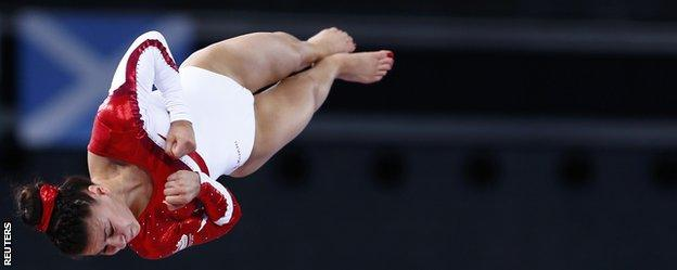 Claudia Fragapane airborne in the vault final at the Commonwealth Games