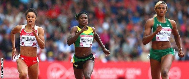 Blessing Okagbare (right) wins 200m gold ahead of Jodie Williams (left), who took silver