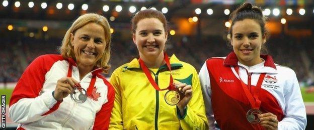 Silver medallist Diane Roy, champion Angie Ballard and bronze medallist Jade Jones