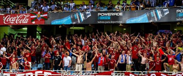 The Aberdeen fans remained in good voice in San Sebastian despite going down 2-0.
