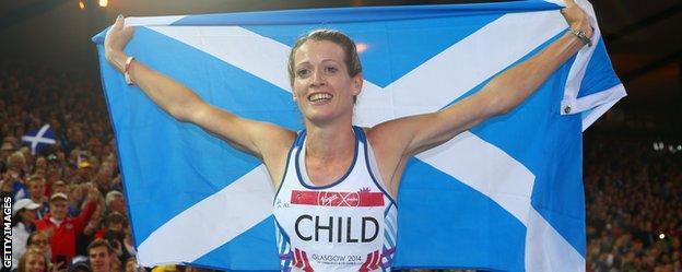 Scotland's Eilidh Child celebrates with a Saltire flag