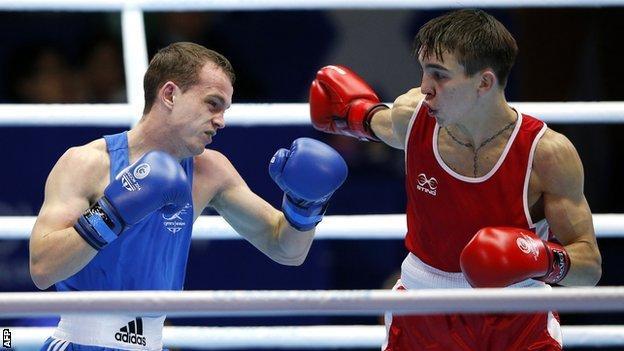 Sean McGoldrick in action against Michael Conlan