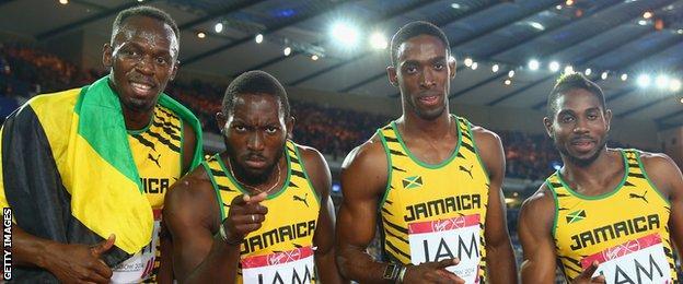 Usain Bolt, Jason Livermore, Kemar Bailey-Cole and Nickel Ashmeade of Jamaica
