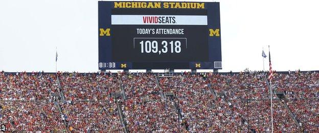 The scoreboard showing the US record crowd of 109,318 in Michigan