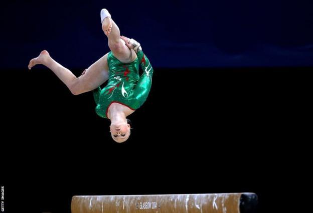 Welsh gymnast Lizzie Beddoe competes in the women's all-around final
