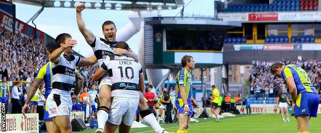 Hull FC celebrate their Challenge Cup semi-final win over Warrington in 2013