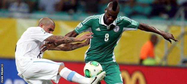 Brown Ideye in action for Nigeria