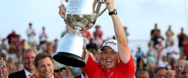 McIlroy celebrates his 2012 US PGA victory at Kiawah Island