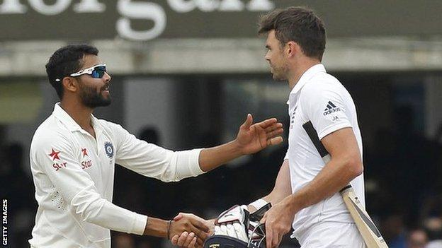 India all-rounder Ravindra Jadeja (left) and England bowler James Anderson
