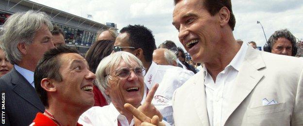 Frankie Detorri, Bernie Ecclestone and Arnold Schwarzenegger