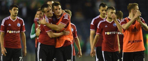 Legia Warsaw players celebrating