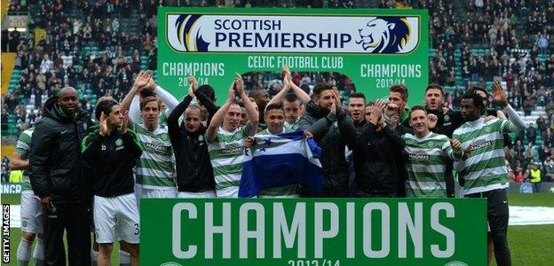 Celtic celebrate winning the title last season