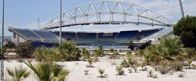 The Olympic beach volleyball stadium in Athens