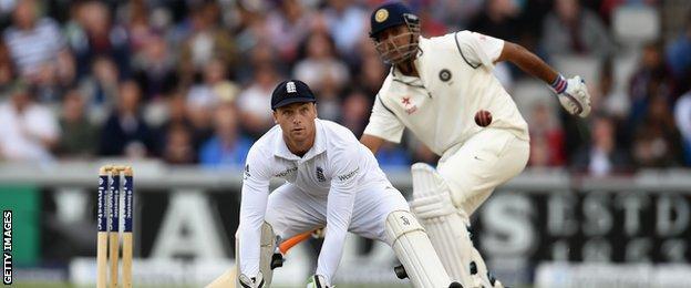 England's Jos Buttler drops India's Ravichandran Ashwin