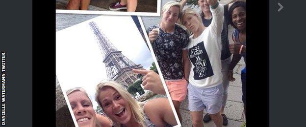Danielle Watermann and team mates in Paris