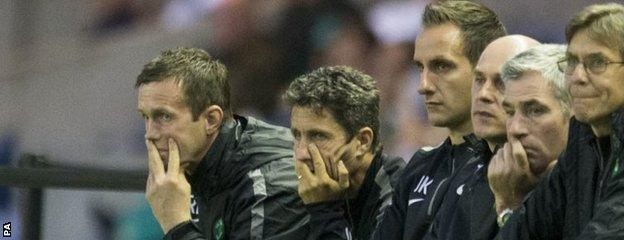 Celtic manager Ronny Deila and the bench