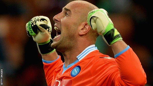 Goalkeeper Pepe Reina celebrates