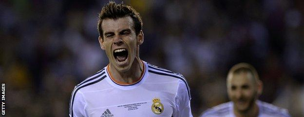 Bale celebrates scoring in the Copa del Rey final against Barcelona