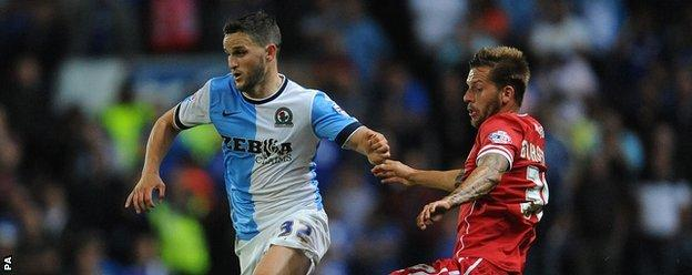 Players in action for Blackburn v Cardiff