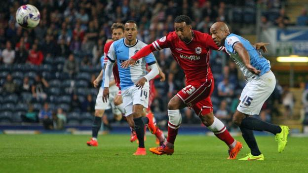 Cardiff City striker Nicky Maynard goes past Blackburn's Alex Baptiste during his side's 1-1 draw at Ewood Park