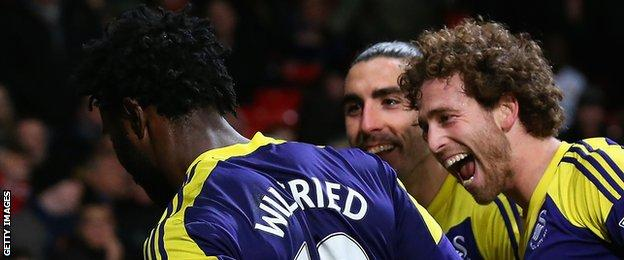 Jose Canas and Chico Flores celebrate with Wilfried Bony against Manchester United in January, 2014