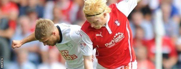 Derby's Jamie Ward (left) and Rotherham's Ben Pringle