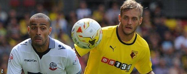 Watford's Joe Ekstrand and Bolton Wanderers' Darren Pratley