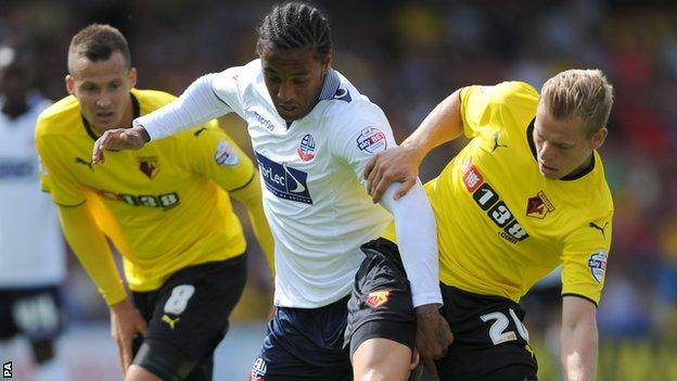 Neil Danns (centre) came on as a second-half substitute but could not inspire a Bolton comeback