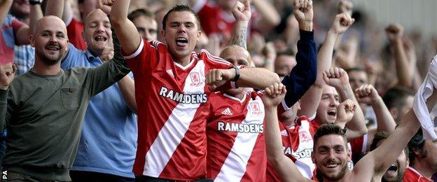 Middlesbrough fans celebrate against Birmingham