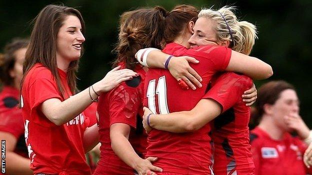 Wales Women celebrate beating South Africa