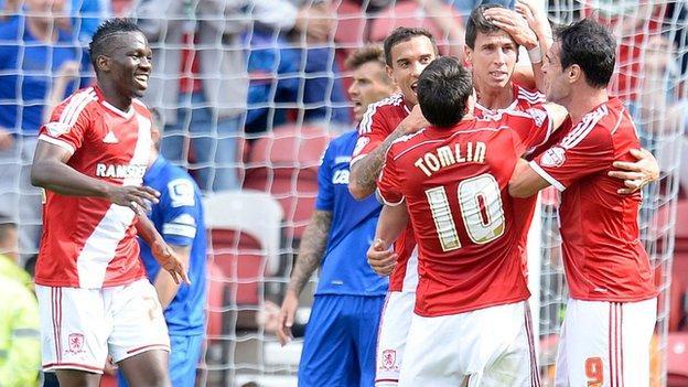Middlesbrough players celebrate Daniel Ayala's goal
