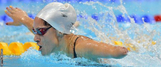 Spain's Sarai Gascon competes during the women's S9 100m butterfly swimming heats during the London 2012 Paralympic Games at the Olympic Park's Aquatics Centre.