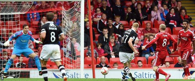 Dundee United's Chris Erskine (centre right) slots it by Jamie Langfield to seal a 3-0 win over Aberdeen