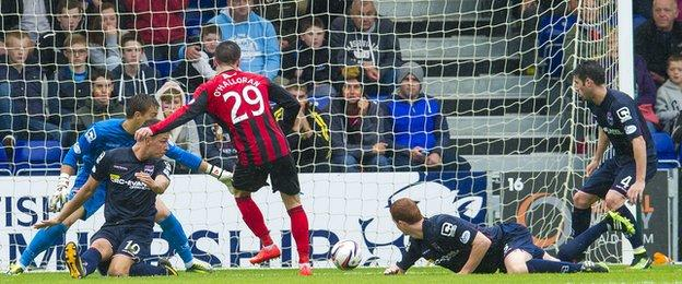 Michael O'Halloran scores for St Johnstone against Ross County