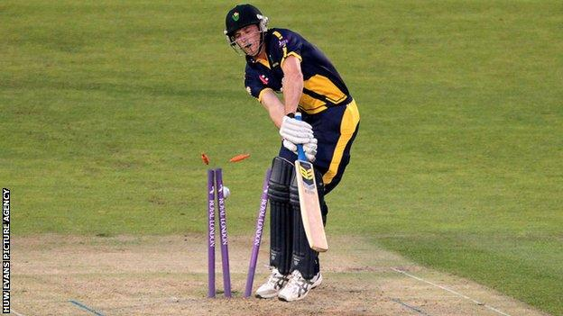 Graham Wagg is clean bowled
