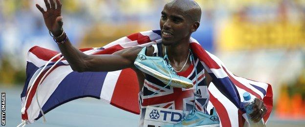 Mo Farah wins the 10,000m World Championships Moscow 2013