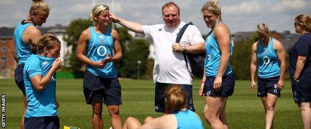 England team with coach Gary Street