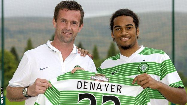 Manager Ronny Deila welcomes defender Jason Denayer to Celtic