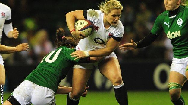 Rachel Burford of England is tackled by Nora Stapleton of Ireland during the Women's Six Nations match between England and Ireland at Twickenham Stadium in February
