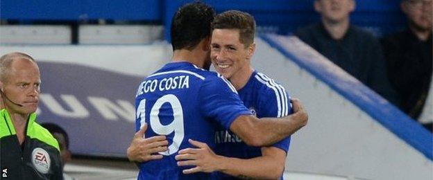 Diego Costa hugs Fernando Torres