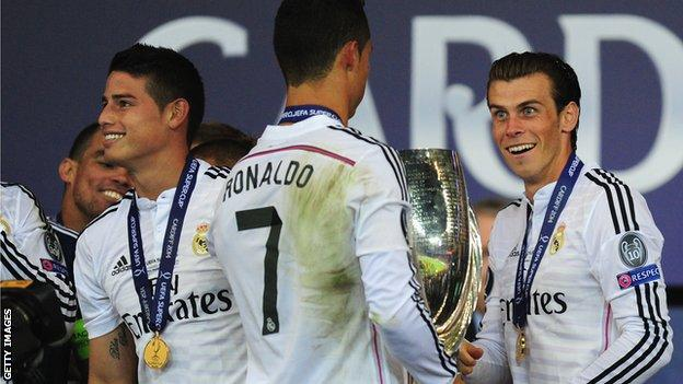 Gareth Bale with team mates Cristiano Ronalo and James Rodriguez