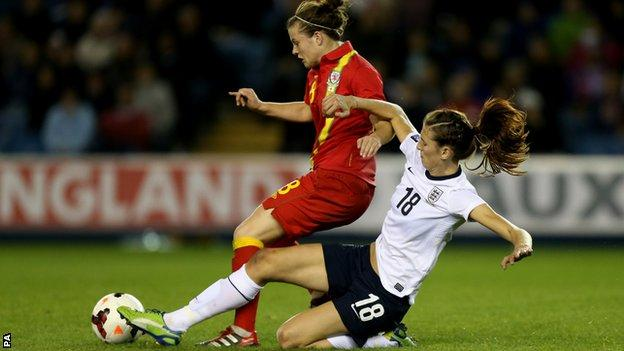 England's Jill Scott tackles Wales' Hayley Ladd