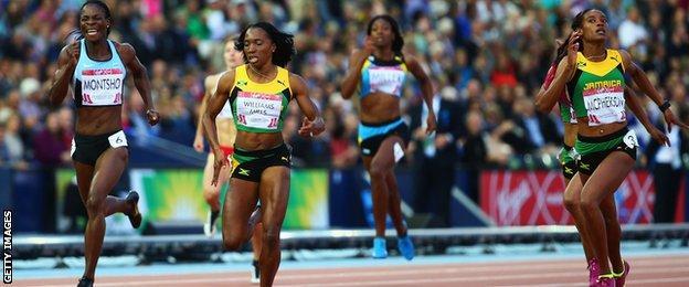 Amantle Montsho, Novlene Williams-Mills and gold Stephanie McPherson