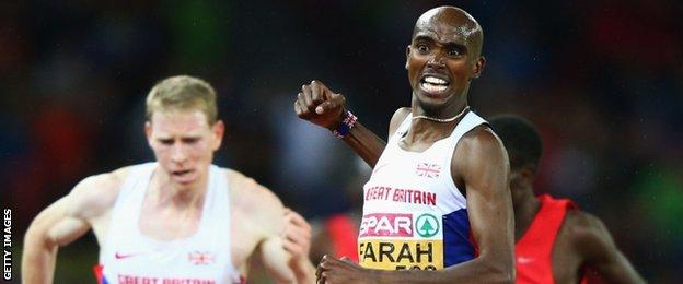 Great Britain's Andy Vernon and Mo Farah