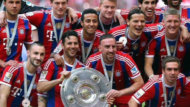 Bayern Munich celebrate winning Germany's 2013/14 Bundesliga title