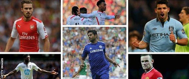 Aaron Ramsey, Emanuel Adebayor, Daniel Sturridge, Diego Costa, Serio Aguero, Wayne Rooney