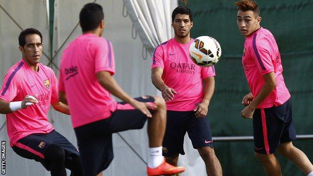 Luis Suarez trains with Barcelona for the first time since his £75m move from Liverpool
