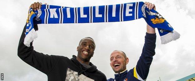 Kilmarnock forward Michael Ngoo and manager Allan Johnston