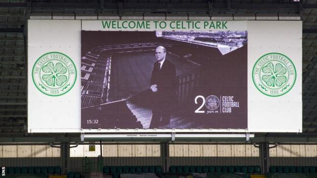A picture of former owner Fergus McCann is displayed on a screen at Celtic Park