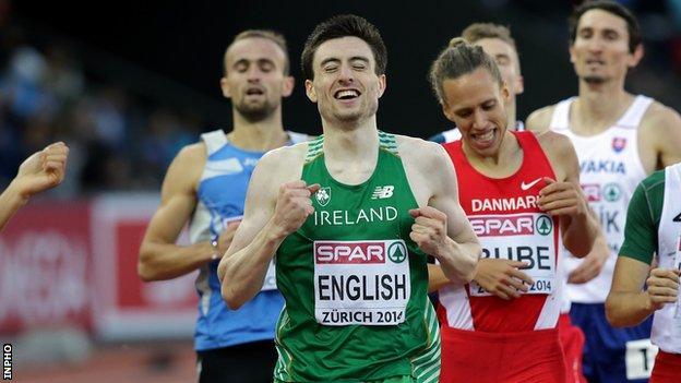 Mark English celebrates winning bronze in Zurich